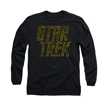 Star Trek Distressed Logo Black Long Sleeve T-Shirt