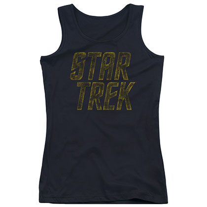Star Trek Distressed Logo Black Juniors Tank Top