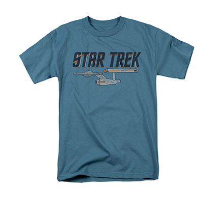 Star Trek Men's Blue Enterprise Logo Tee Shirt