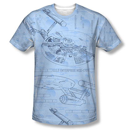 Star Trek Blue Print Sublimation T-Shirt
