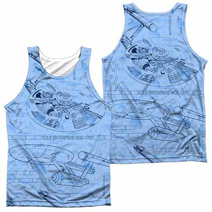 Star Trek Blue Print Sublimation Tank Top