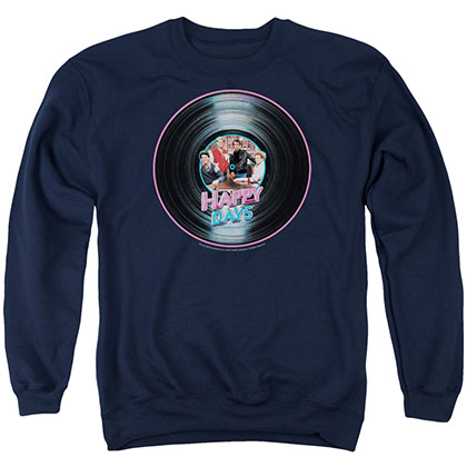 Happy Days On The Record Blue Crew Neck Sweatshirt