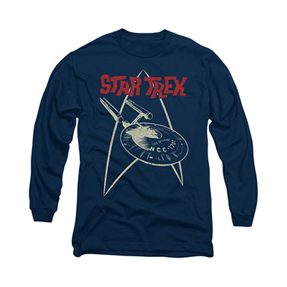 Star Trek Ship Symbol Blue Long Sleeve T-Shirt