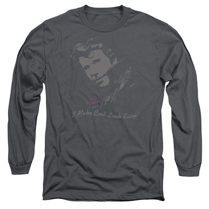 Happy Days Cool Fonz Gray Long Sleeve T-Shirt