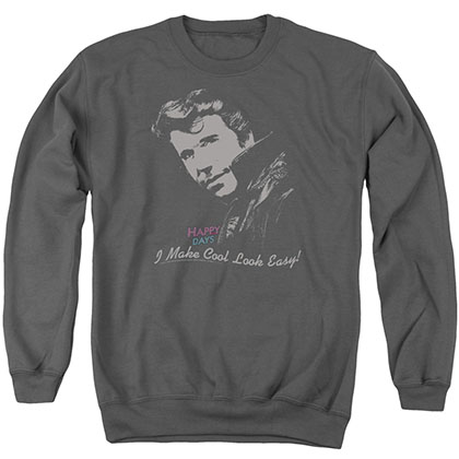 Happy Days Cool Fonz Gray Crew Neck Sweatshirt
