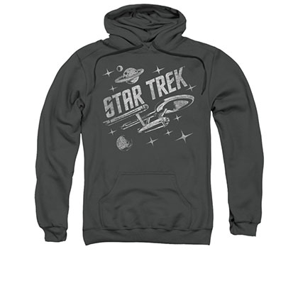 Star Trek Through Space Gray Black Pullover Hoodie