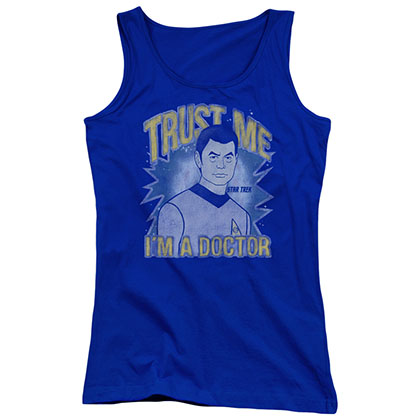 Star Trek Trust Me Doctor Blue Juniors Tank Top