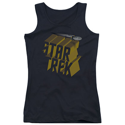 Star Trek 3D Logo Black Juniors Tank Top