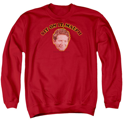 Happy Days Sit On It Malph Red Crew Neck Sweatshirt