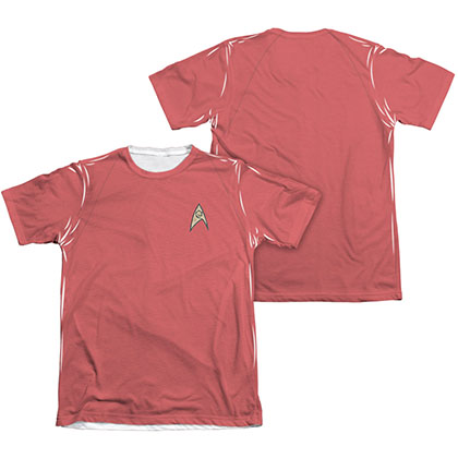 Star Trek TOS Engineering Two-Sided Costume Red Sublimation T-Shirt
