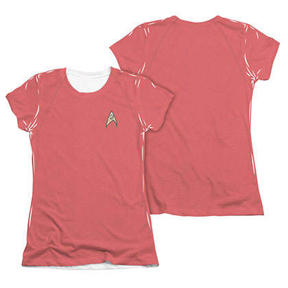 Star Trek TOS Engineering Juniors Costume Red Sublimation T-Shirt