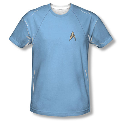 Star Trek TOS Science Uniform Costume Blue Sublimation T-Shirt