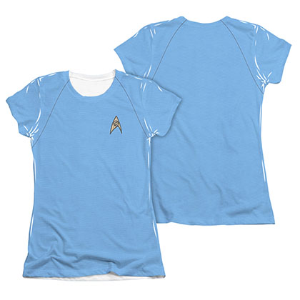 Star Trek TOS Science Juniors Costume Blue Sublimation T-Shirt