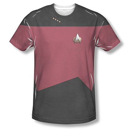 Star Trek TNG Command Uniform Costume Red Sublimation T-Shirt