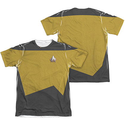 Star Trek TNG Engineering Two-Sided Costume Gold Sublimation T-Shirt