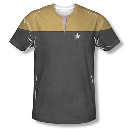 Star Trek Voyager Engineering Gold Uniform Costume Sublimation T-Shirt