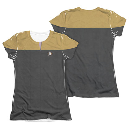 Star Trek Voyager Engineering Gold Juniors Costume Sublimation T-Shirt