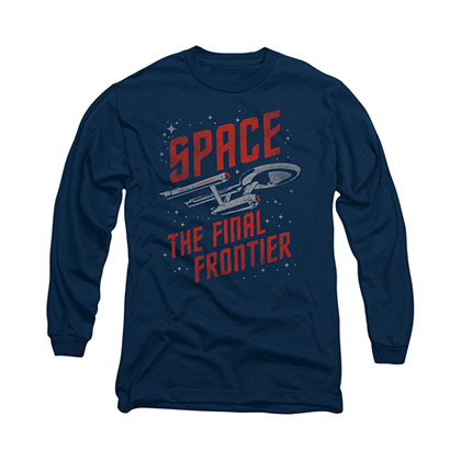 Star Trek Space Travel Blue Long Sleeve T-Shirt