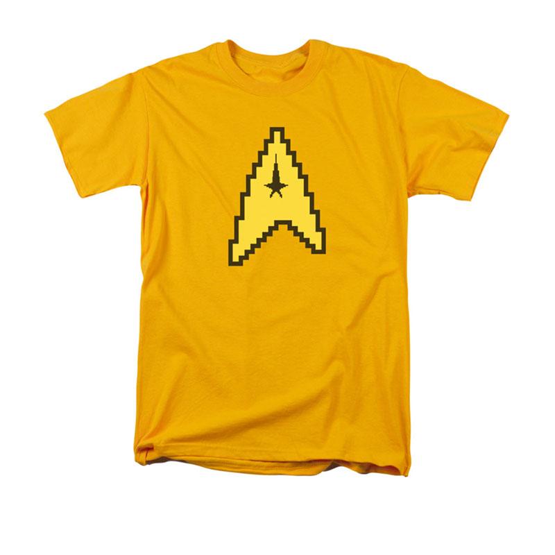 Star Trek Tos 8 Bit Command Symbol Yellow T Shirt Tvmoviedepot