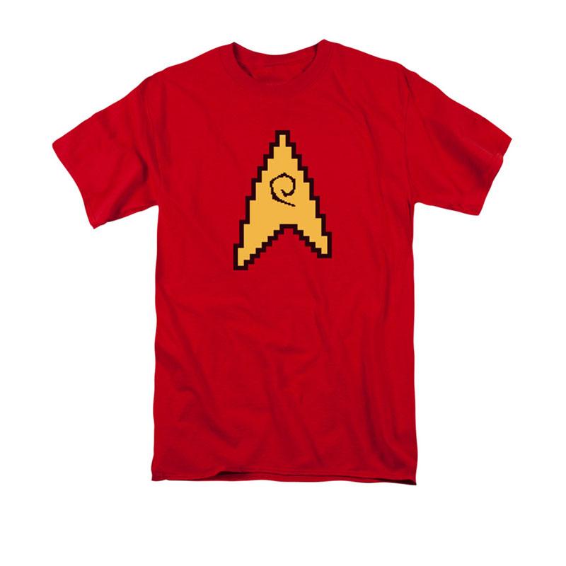 Star Trek Tos 8 Bit Engineering Symbol Red T Shirt Tvmoviedepot