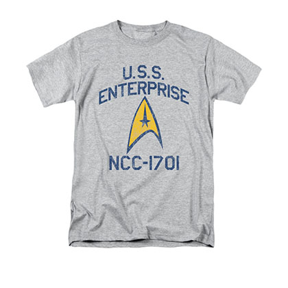 Star Trek Men's Gray Collegiate Arch Tee Shirt