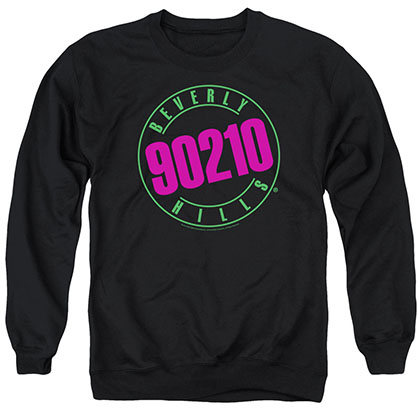 Beverly Hills 90210 Neon Black Crew Neck Sweatshirt