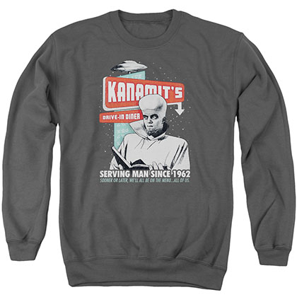 Twilight Zone Kanamits Diner Gray Crew Neck Sweatshirt