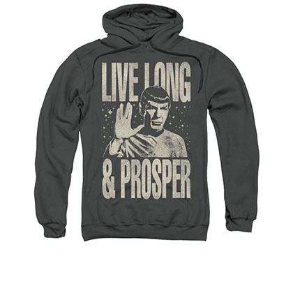 Star Trek Spock Live Long And Prosper Gray Pullover Hoodie