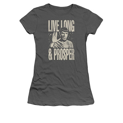 Star Trek Spock Live Long & Prosper Gray Juniors T-Shirt