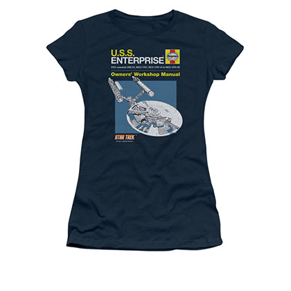 Star Trek USS Enterprise Manual Blue Juniors T-Shirt