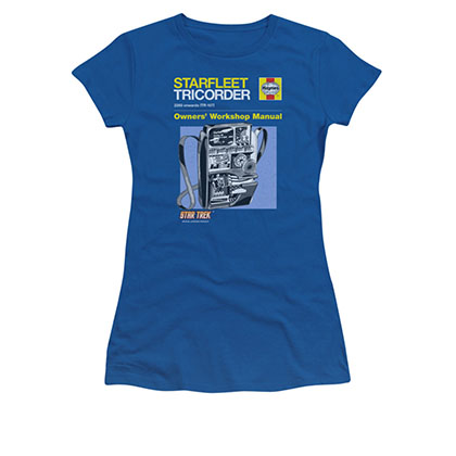 Star Trek Tricorder Manual Blue Juniors T-Shirt