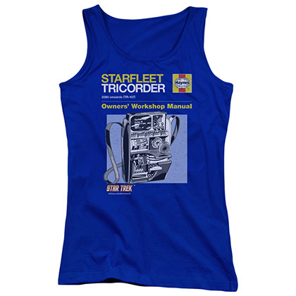 Star Trek Tricorder Manual Blue Juniors Tank Top