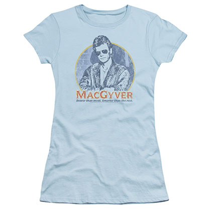 Macgyver Title Blue Juniors T-Shirt