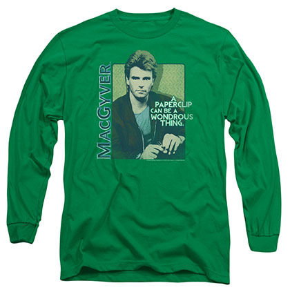 Macgyver Wonderous Paperclip Green Long Sleeve T-Shirt