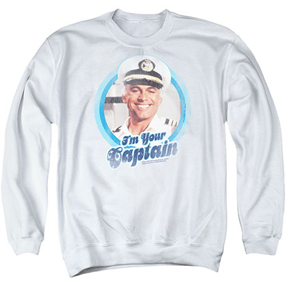 Love Boat I'm Your Captain White Crew Neck Sweatshirt