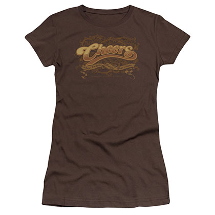 Cheers Scrolled Logo Brown Juniors T-Shirt