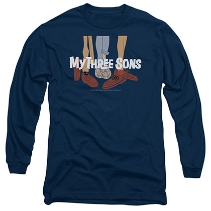 My Three Sons Shoes Logo Blue Long Sleeve T-Shirt