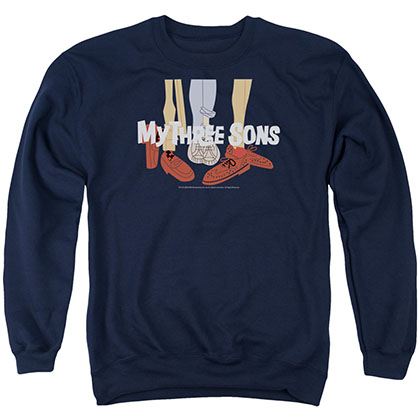 My Three Sons Shoes Logo Blue Crew Neck Sweatshirt