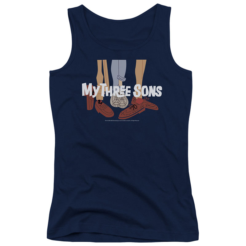 My Three Sons Shoes Logo Blue Juniors Tank Top