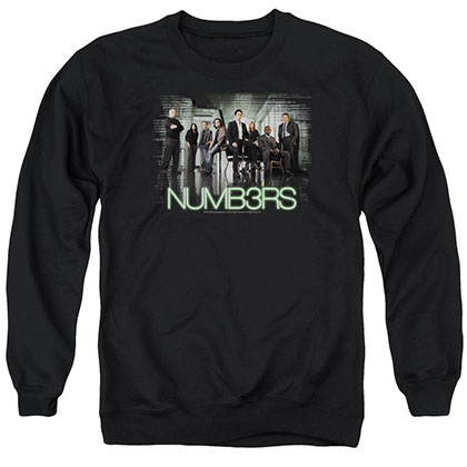 Numb3Rs Numbers Cast Black Crew Neck Sweatshirt