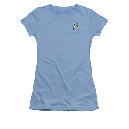 Star Trek TOS Science Uniform Costume Blue Juniors T-Shirt