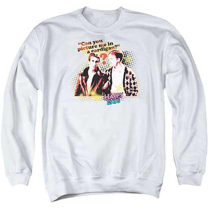 Happy Days No Cardigans White Crew Neck Sweatshirt