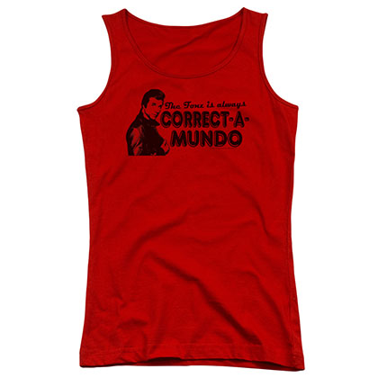 Happy Days Correct A Mundo Red Juniors Tank Top