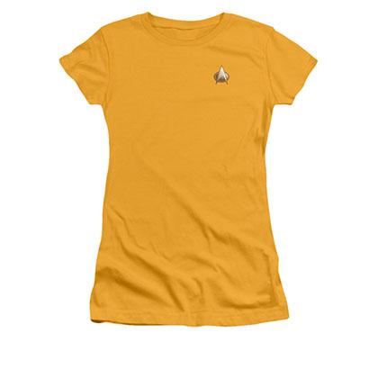 Star Trek TNG Engineering Uniform Costume Yellow Juniors T-Shirt