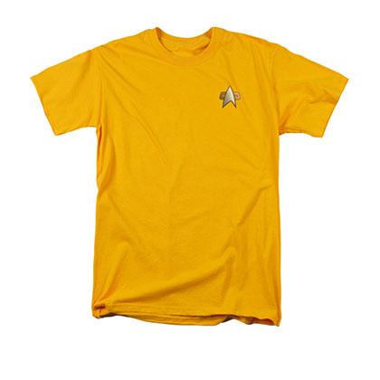 Star Trek Men's Yellow DS9 Engineering Uniform Costume Tee Shirt