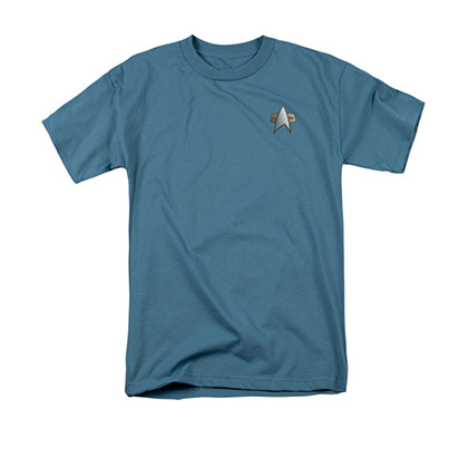 Star Trek DS9 Science Uniform Costume Blue Tee Shirt