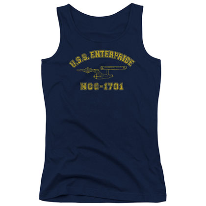 Star Trek Enterprise Athletic Blue Juniors Tank Top