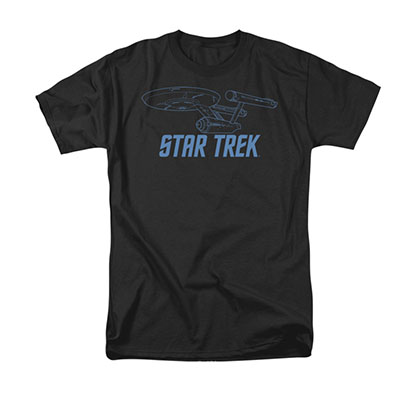 Star Trek Enterprise Outline Black Tee Shirt