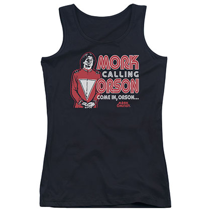 Mork & Mindy Mork Calling Orson Black Juniors Tank Top