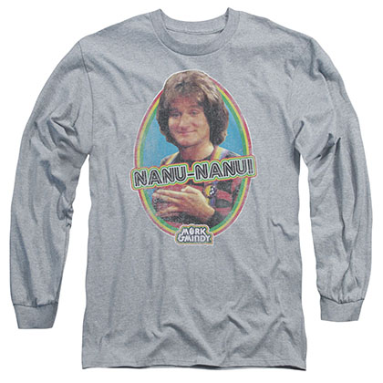 Mork & Mindy Nanu Nanu Gray Long Sleeve T-Shirt
